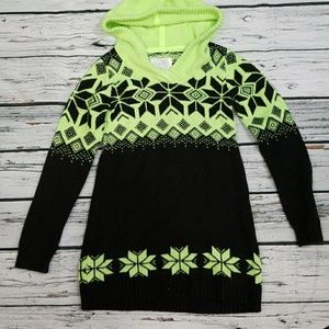 Girls Justice hooded sweater dress holiday sz 10